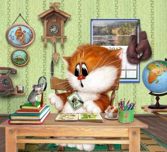 Художник Алексей Долотов. Жил забавный рыжий кот…