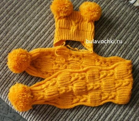 Шапочка и шарф спицами для детей