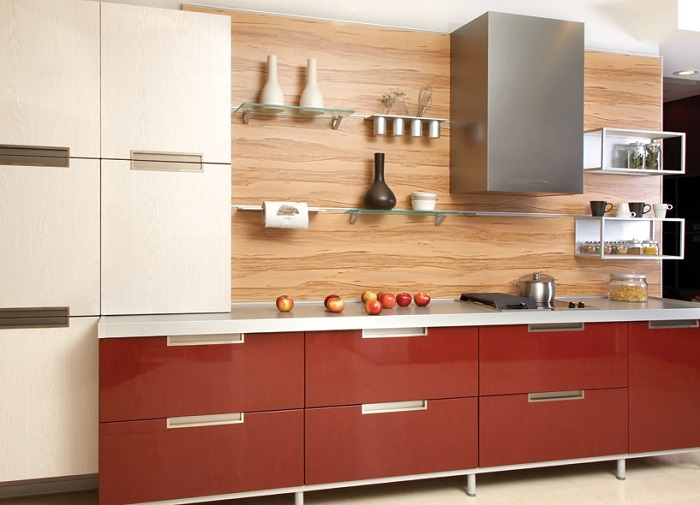 Деревянный фартук для кухни