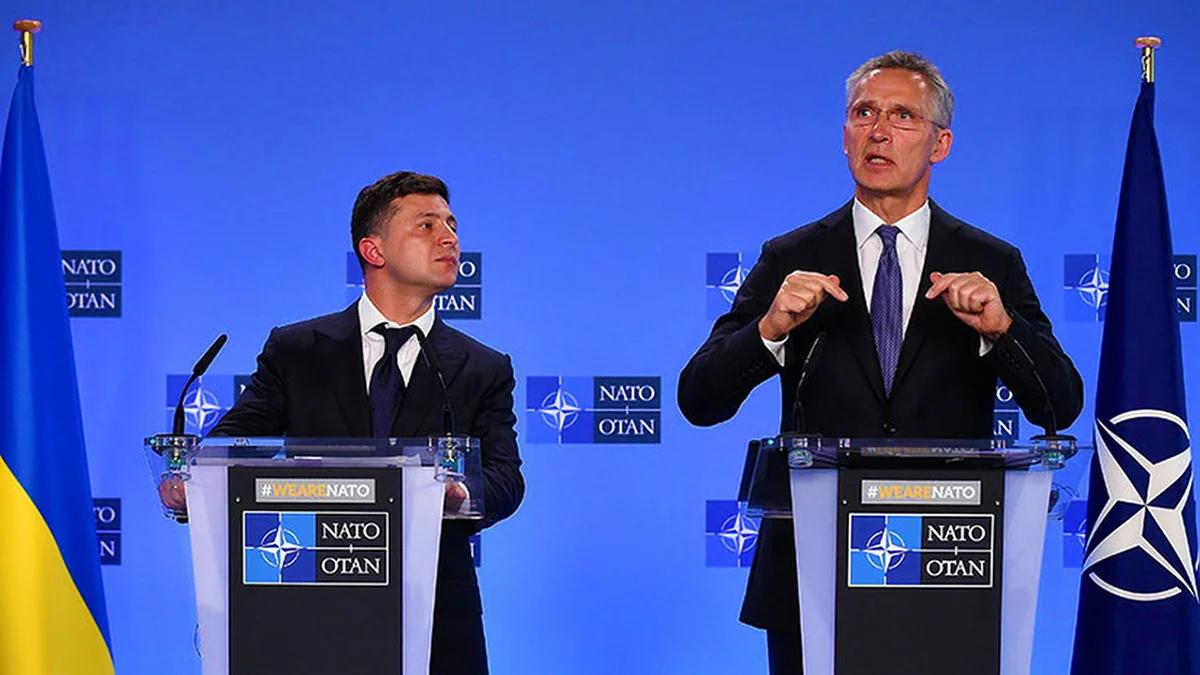 Пресс-конференция президента Украины Зеленского и Генсека НАТО Столтенберга. Источник изображения: https://vk.com/denis_siniy