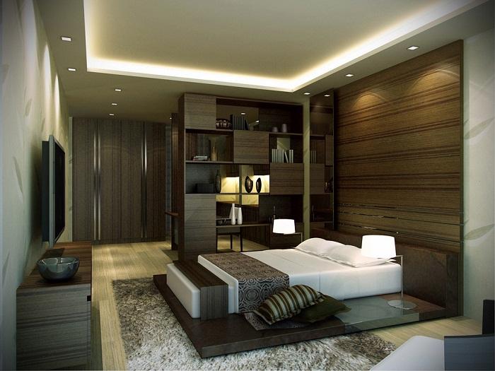 Освещение по периметру комнаты.