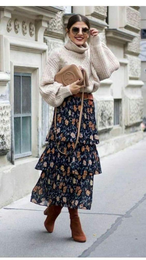 Утепляемся к осени: 35 образов с длинной юбкой или платьем, фото № 2