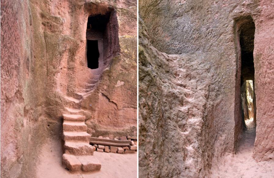 узкие проходы между храмами в Лалибэле Эфиопия