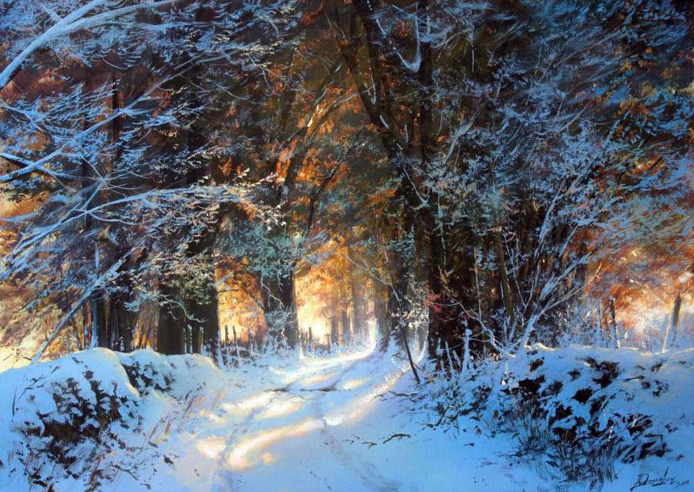 есть фото зимний художественный пейзаж леса одной точкой