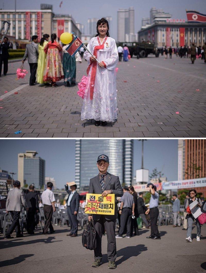 Вверху — женщина позирует во время военного парада в Пхеньяне, внизу — контр-адмирал в отставке держит плакат во время митинга, где выступают за дислокацию тактического ядерного оружия США на территории Южной Кореи кндр, люди, северная корея, сравнение, страны, южная корея