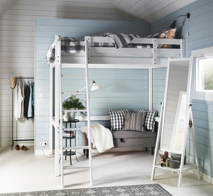 Современный дизайн-проект спальной комнаты с двухъярусной кроватью.