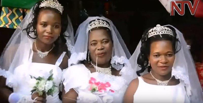 """""""Я благодарю нашего мужа за то, что он женился на нас троих в один день. Это значит, что он не будет обделять ни одну из нас"""", - сказала старшая жена Салмат брак, история, многоженство, невеста, свадьба, уганда, фото"""