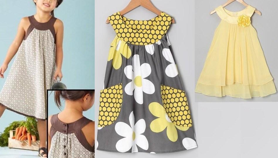 Выкройка летнего детского платья на возраст от 1 года до 14 лет