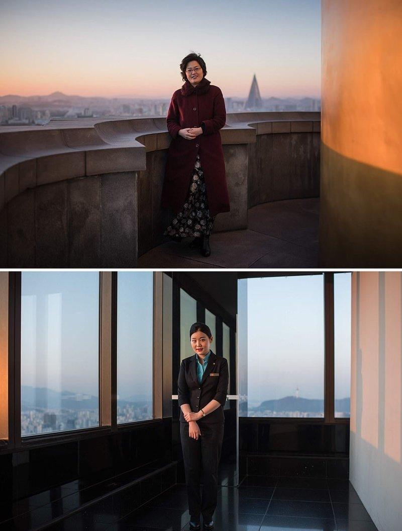 Вверху — женщина на смотровой площадке Монумента идей Чучхе в Пхеньяне. Внизу — женщина на смотровой площадке небоскреба Юксам-билдинг кндр, люди, северная корея, сравнение, страны, южная корея