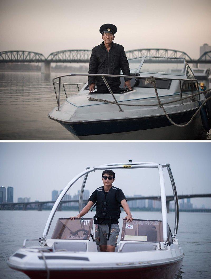 Вверху — мужчина в туристической лодке на реке Тэдонган, Северная Корея. Внизу — мужчина в своей лодке для водного спорта, Южная Корея кндр, люди, северная корея, сравнение, страны, южная корея