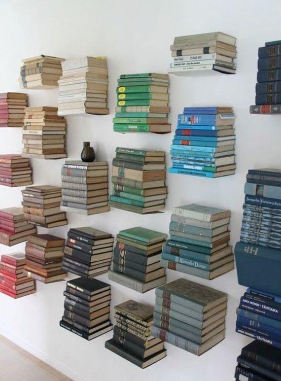 5. Хранить книги можно и без полок книги, книголюбы, крутые вещи, способы хранения, фото, чтение