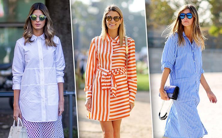 Как носить платье-рубашку: 25 стильных образов