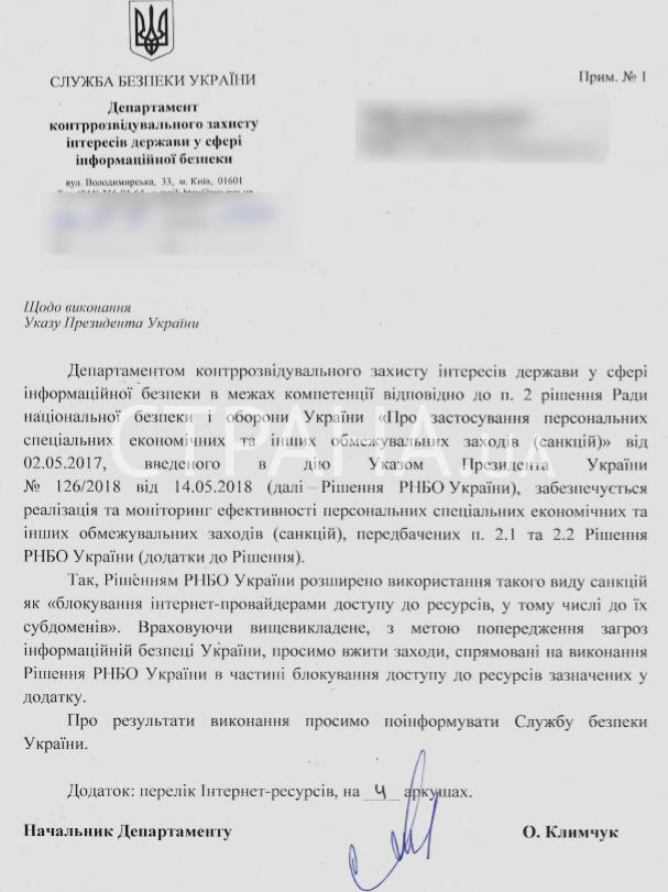 Список сайтов запрещенных СБУ