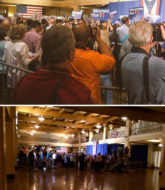 И вновь Хиллари Клинтон в Огайо media, все дело в фокусе, манипулирование, новости наша профессия, познавательно, с какой стороны посмотреть, сми, фотографии