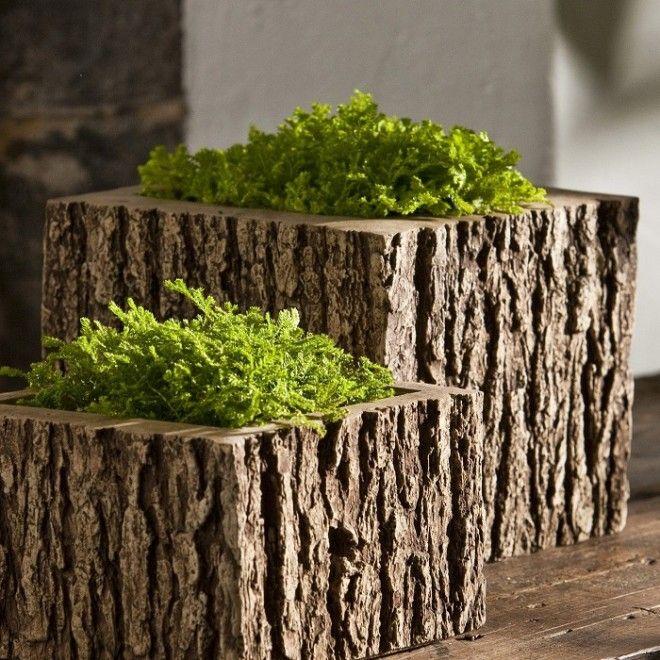 Деревянные вазы для комнатных цветов и растений из большого спила