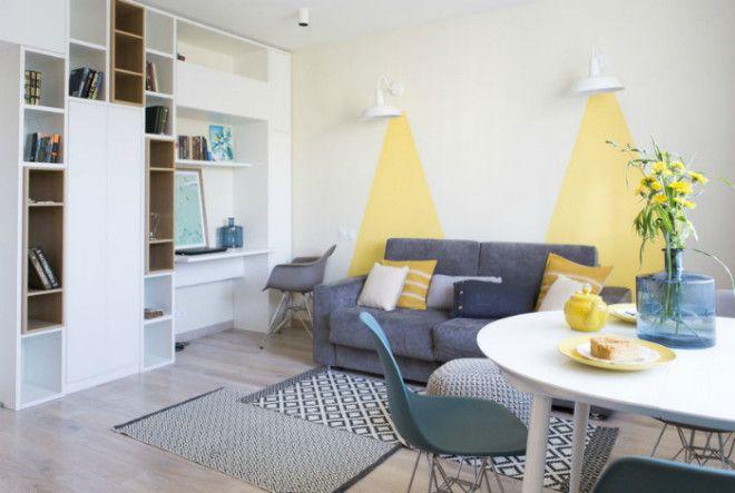 Очаровательная светлая гостиная в скандинавском стиле