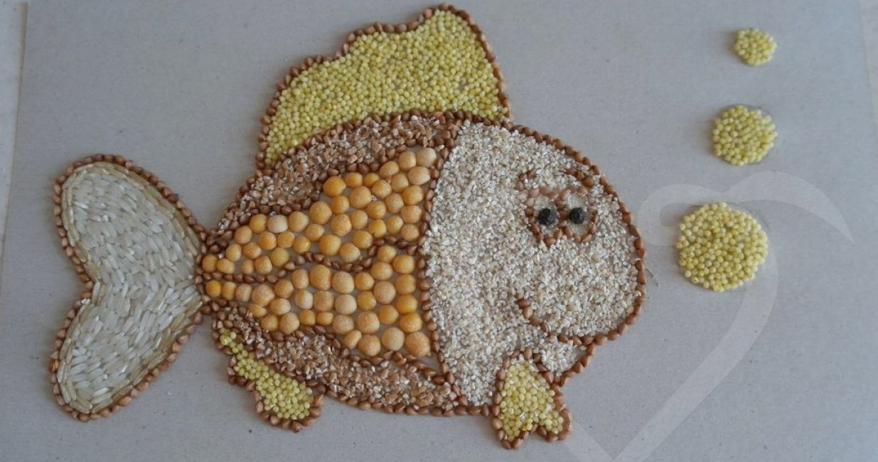 Рисунки из риса и гречки своими руками фото