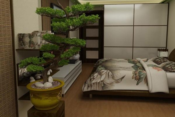 бонсай в интерьере спальни