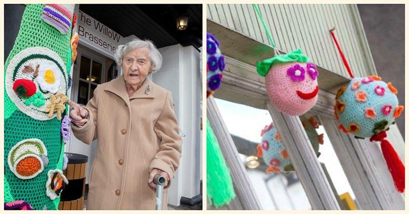 В свои 104 года прабабушка вяжет чудесные вещи для украшения своего города