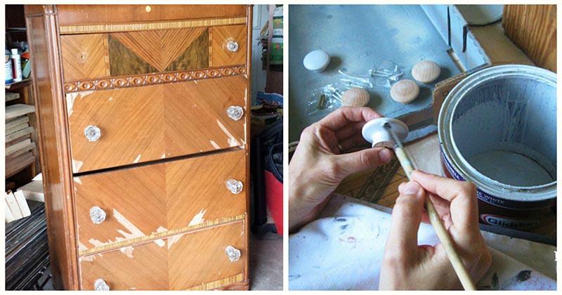 Вот как можно преобразить старенький комод, имея на руках лишь обычную краску
