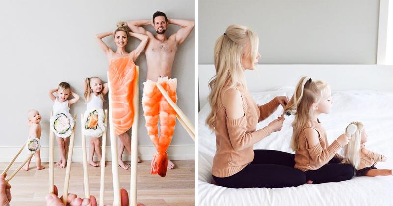 """Мать троих детей нашла """"лучшее средство от скуки"""" - креативные семейные фото!"""