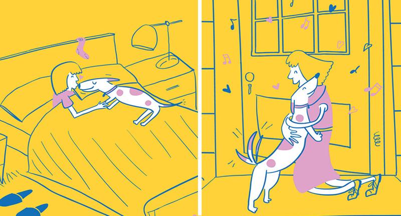 Жизнь хозяйки собаки в очаровательных иллюстрациях