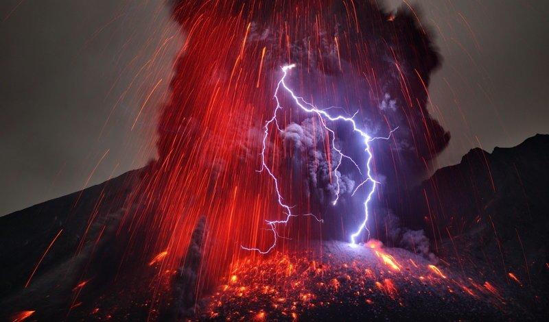 Вулканическая молния природа, природные явления, удивительная природа