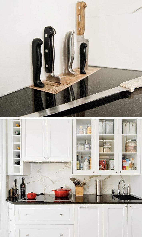 Блок с размещением ножей на кухонной рабочй поверхности фото