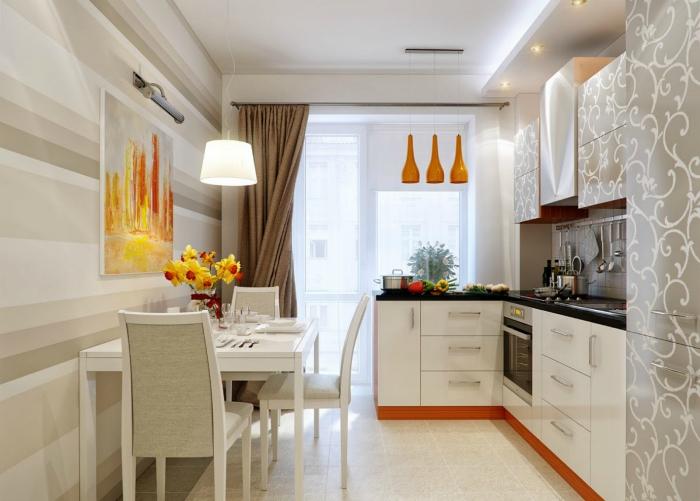 Элегантная кухня с оригинальными шкафчиками и обилием ярких деталей.