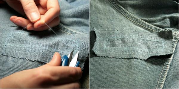 как поставить заплату на джинсы