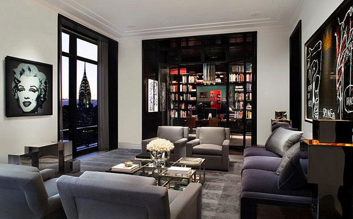 Гостиная в нью-йоркской квартире от Mark Cunningham