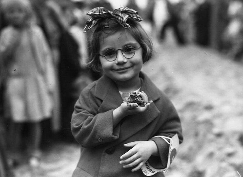 Маленькая девочка и ее любимая жаба на выставке домашних животных в Венис Бич, Калифорния. 1936