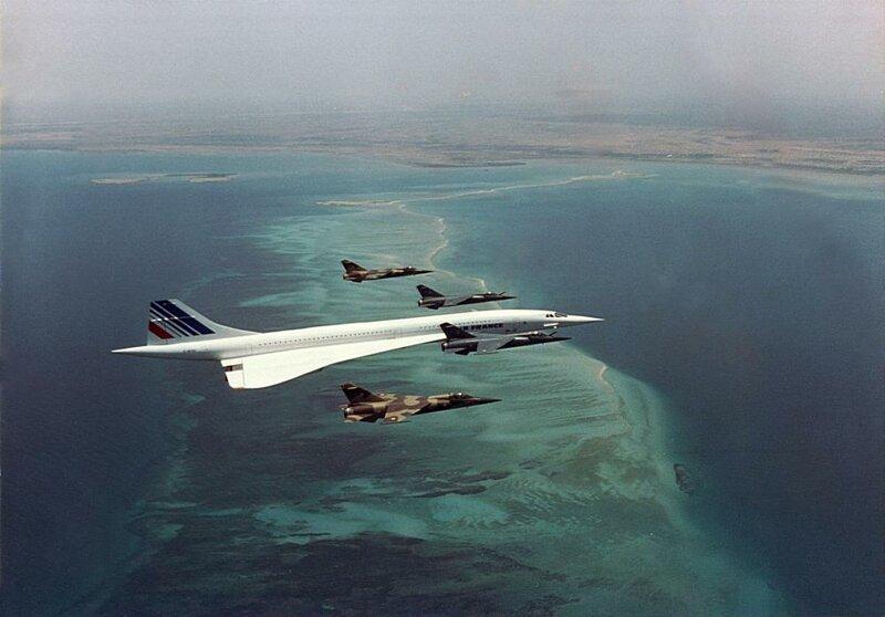 Конкорд, пролетавший над Джибути около 1988-1989 годов в сопровождении французских истребителей, так как президент Франсуа Миттеран был на борту.