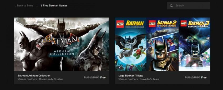 В Epic Games Store бесплатно отдают6 игр про Бэтмена: трилогии Arkham и LEGO epic games store,pc,Игры