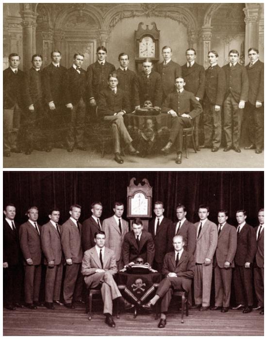 Фотография участников братства «Черепа и Кости» в разные годы. | Фото: nosecret.com.ua.