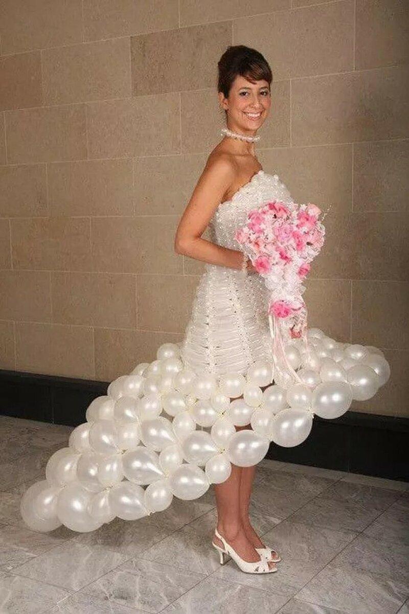 8. Свадебное платье из воздушных шаров горе модники, дизайн, мода, смешно, трэш, фото