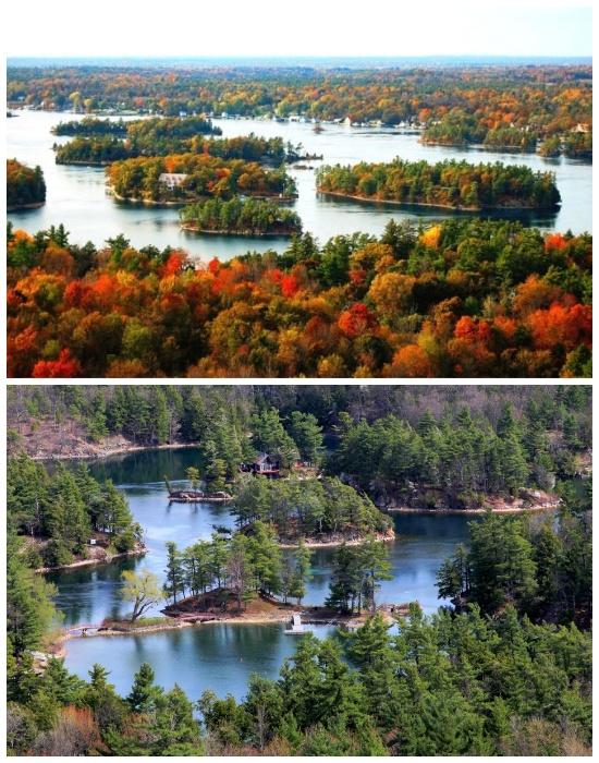 Архипелаг «Тысяча островов» имеет протяженность 80 км. и проходит через Канаду и США.