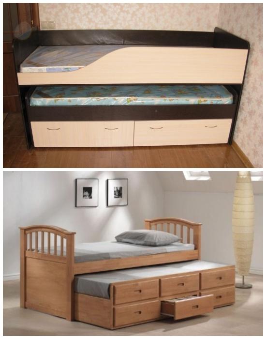 С помощью выдвижной конструкции можно спрятать дополнительное спальное место и ящики для хранения. | Фото: spbkrovat.ru.