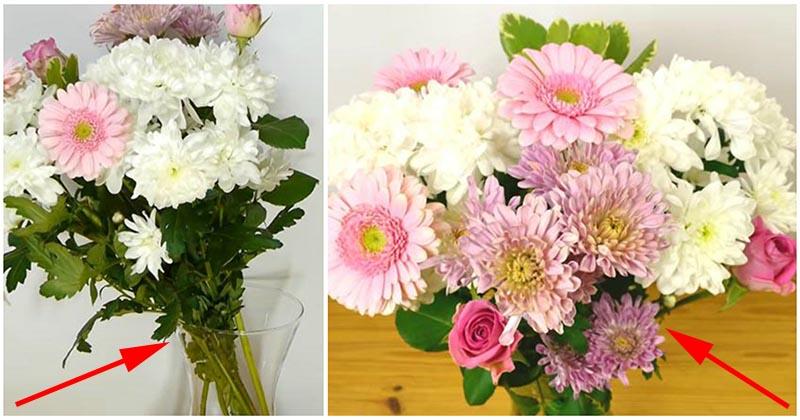 Простой трюк, который поможет красиво и равномерно расставить цветы в вазе