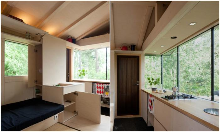 В крошечном домике удалось создать полноценную кухню и гостиную (Финляндия). | Фото: hinteriorsmall.ru.