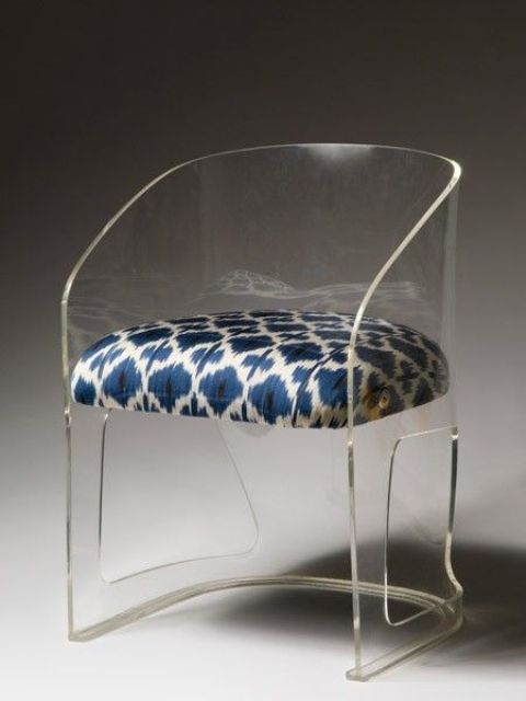 04 adorable acrylic chair with a patterned upholstered seat