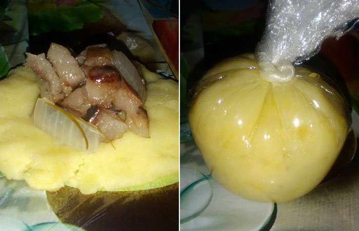 Шары-сюрпризы из картофеля и селедки.
