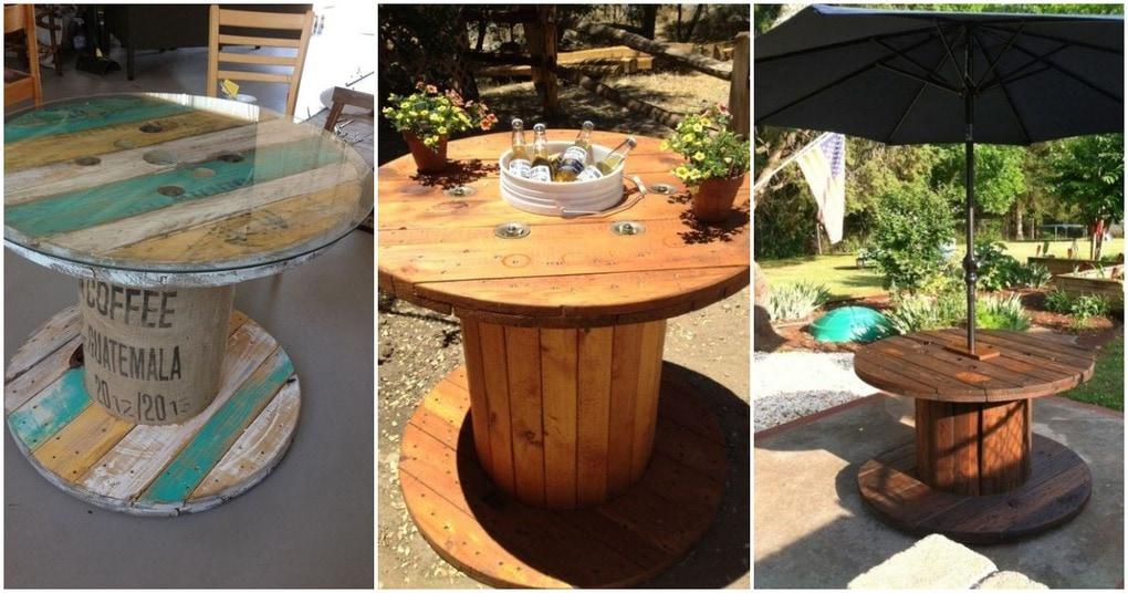 Идея на дачу: креативный стол из ненужной деревянной катушки