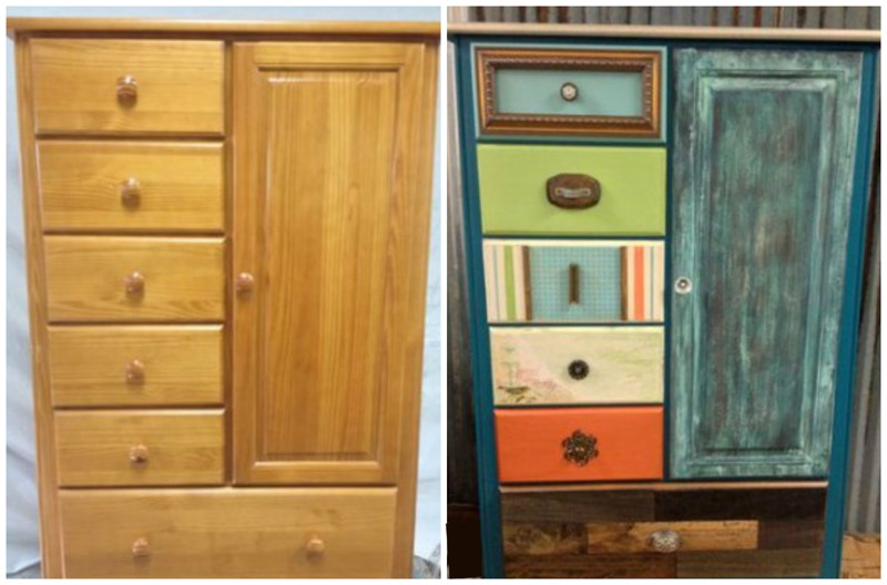 Старый комод стал выглядеть заметно моложе своих лет :) мебель, новая жизнь, переделка, старье