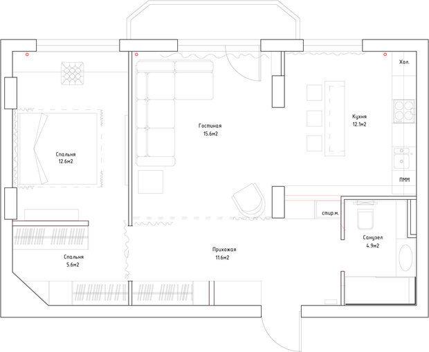 Светлая квартира с открытой планировкой Фото