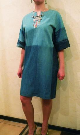 Элегантное платье из старых джинсов...