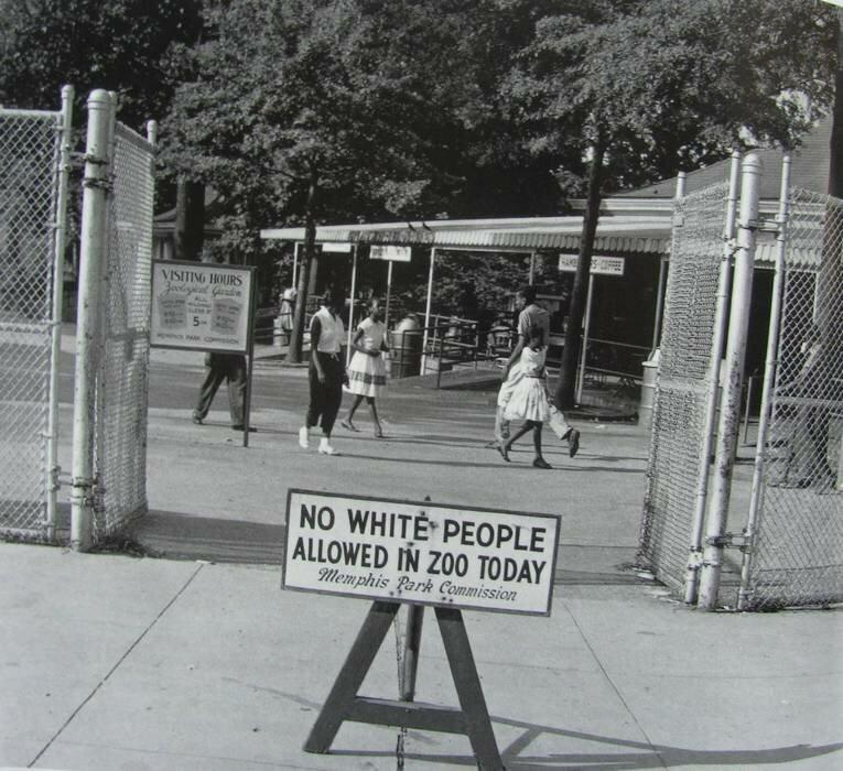Знак, установленный перед Мемфисским зоопарком в четверг. Четверг - единственный день недели, в который афроамериканцам было разрешено посетить зоопарк. 1959 г.