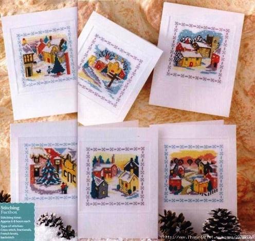 Схемы для вышивки крестом рождественских открыток