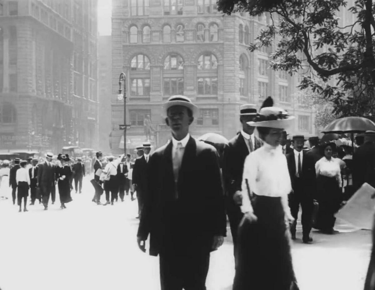 Видео прогулка по Нью-Йорку в 1911 году