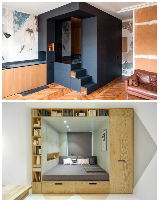 Встроенная спальня поможет освободить полезную площадь комнаты. | Фото: archidea.com.ua.